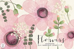 Watercolor pink flowers diy invite