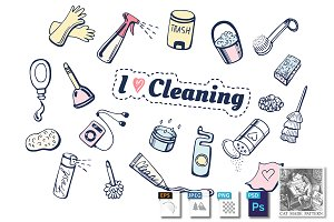 I love cleaning icons set