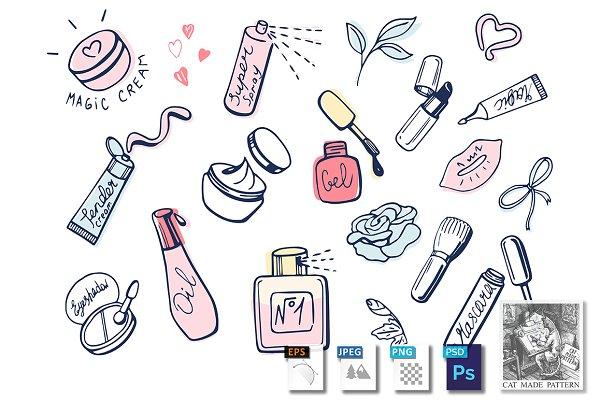 Girlish makeup items icons