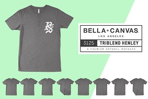 Bella Canvas 3125 Triblend Henley