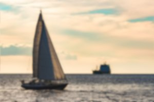 Blue sailboat - blurred image