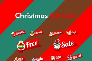 Christmas promotion tag & flat icon
