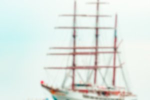 White sailing ship - blurred image