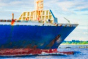 Blue cargo ship - blurred image