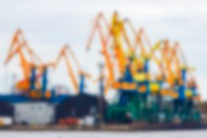 Portal cargo cranes - blurred image