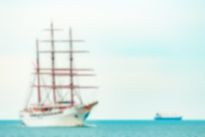 White sailing ship - blurred image