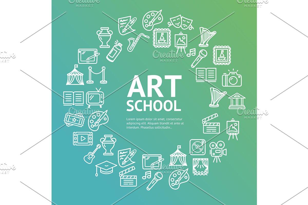 Art School Round Icon Concept