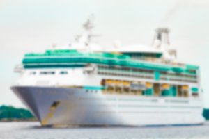 White cruise liner - blurred image
