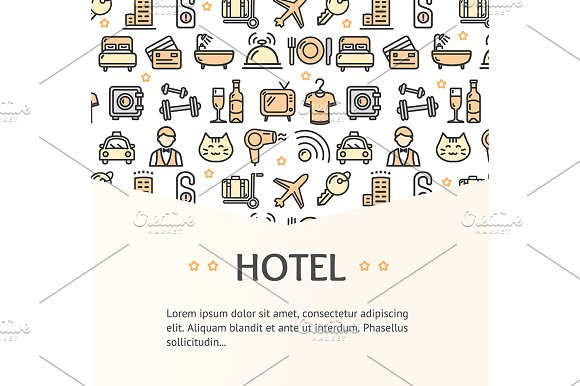 Hotel Service Banner. Vector