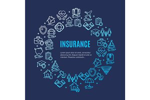 Insurance Round Icon Concept.