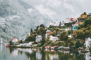 Odda city houses in Norway Landscape