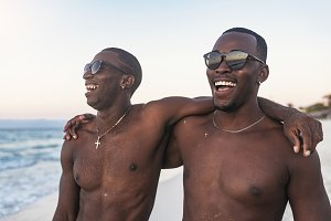 Two cuban friends having fun
