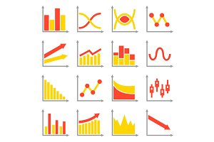 Diagrams and Graphs Icons Set