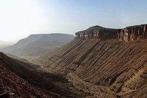 Panorama with Adrar mountain, rocks and gorge Mauritania