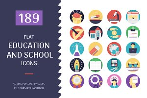 189 Flat Education Icons