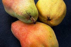 Splendid pears in black