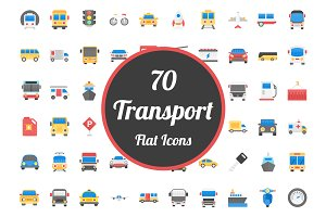 70 Transport Flat Vector Icons