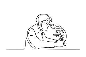 Scientist man looking through microscope
