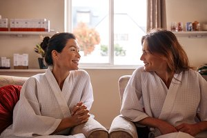Woman friends in wellness spa