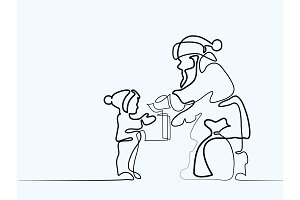 Santa Claus present gift to child