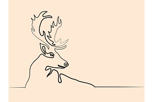 Christmas reindeer different wide drawing