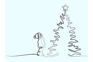 New year card boy looking at Christmas tree