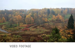 Autumn forest and curving river