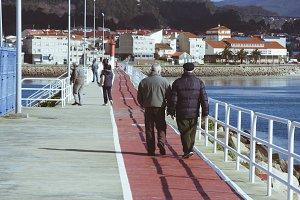 People walking through the port