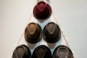 Xmas tree made of hats