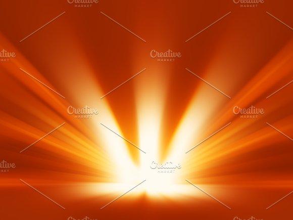 Diagonal Orange Blast Of Sunlight Rays Background