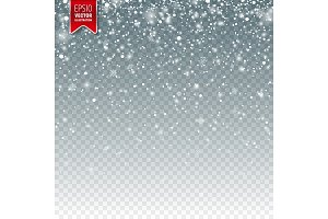 Snow with snowflakes. Winter background for Christmas or New Year holidays. Falling snow effect. Frost storm, snowfall, ice.