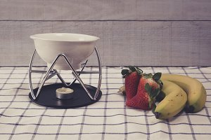 Strawberries and bananas. Fondue