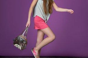 Sporty pretty teen girl loves sports.children's sports fashion.