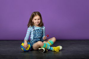 Sporting a beautiful baby girl loves sports.children's sports fashion.