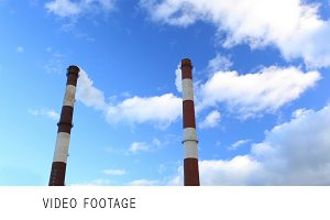 Factory chimneys. Time lapse.