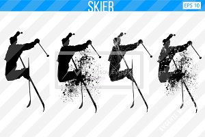 Silhouette of a skier. Set