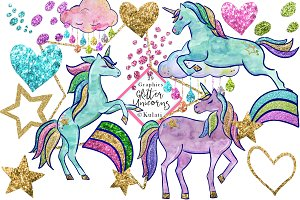 Glitter Unicorns clipart / graphics