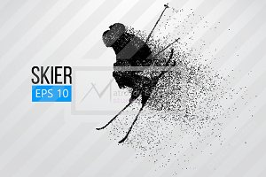 Silhouette of a skier from particles
