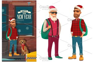 Hipster Santa Claus, dog and taxi on street. Flat color