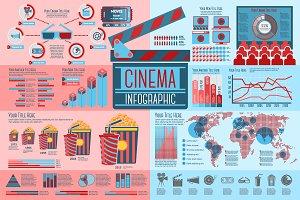 Cinema and Movie Infographics set