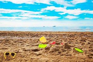 Baby toys on the beach