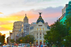 Madrid city center with traffic jam