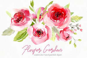 Watercolor pink roses flowers leaves
