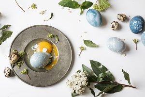 Blue Easter egg broken. Easter