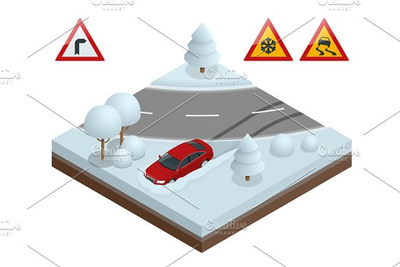 Isometric Drift Car On A Snowy Road Concept Heavy Snow On The Road Driving On It Becomes Dangerous
