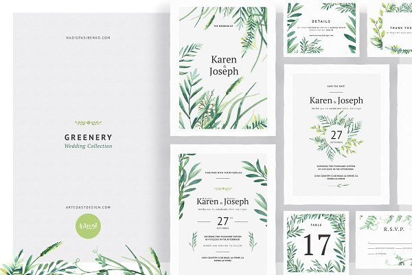 Invitation Templates: Spasibenko Art - Greenery Wedding Collection