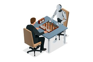 Isometric chess game with artificial intelligence concept. Artificial intelligence technology. Robot hand plays chess, arm makes a move with rook isolated vector illustration