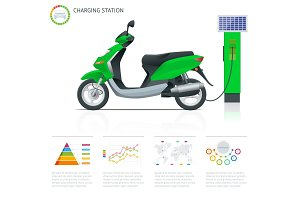 Infographics and Trendy electric scooter charging point vector. Renewable eco technologies. Green power
