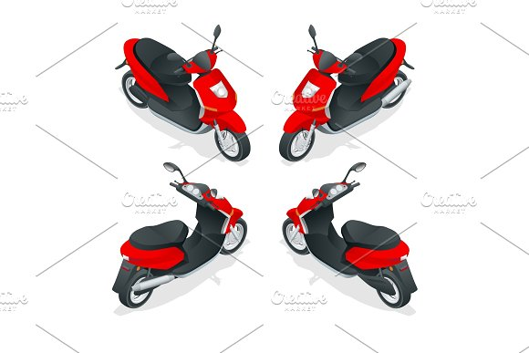 Trendy Electric Scooter Isolated On White Background Isolated Electric Scooter Template For Branding And Advertising Isometric Vector Illustration