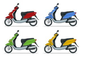 Trendy electric scooter, isolated on white background. Isolated electric scooter, template for branding and advertising. Side view